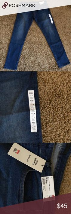 dfcebbfb6f0 Description  Blue Skinny fit jeans from Uniqlo. Size Comes with 5 pockets  and has a tapered fit.