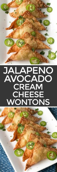 If you love jalapeño poppers, you are going to flip out over these Jalapeño Avocado Cream Cheese Wontons! The creamy and spicy filling wrapped in crispy wonton wrappers makes these poppers a fantastic party appetizer (or afternoon snack. Finger Food Appetizers, Yummy Appetizers, Appetizers For Party, Appetizer Recipes, Finger Foods, Cheese Appetizers, Cheese Dips, Vegan Cheese, Party Recipes