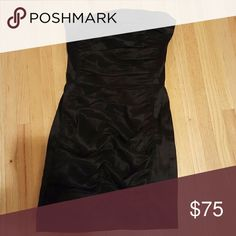 DRESS Black Cocktail Strapless Jessica McClintock Dress Straight With Rippled Effect Jessica McClintock Dresses Strapless