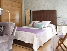 How To Comfortably Design 430 Square Foot Apartment -- Lilac purple brown hues