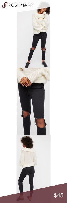 High Rise Busted Skinny Super stretchy high rise skinnies featuring busted out knees and raw edges. These are a very dark charcoal grey - not black! One of my favorite pairs of pants & they look adorable with fishnets underneath! Free People Pants Skinny