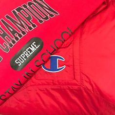 """9dabb0022406 Cop Vs Drop on Instagram  """"Supreme Champion Available Supreme X Champion  Stay In School Crewneck - Red Large  218 Supreme X Champion Pullover Parka  - Red ..."""