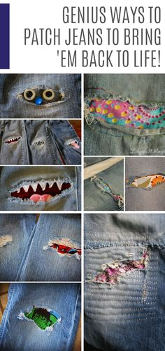 15 Amazing Jean Patch Repair Ideas that are Basically Magic! Weve scoured the internet for the best ways to repair ripped jeans and weve come up with a list of amazing jean patch repair ideas that are so brilliant youll WANT to find holes! Sewing Hacks, Sewing Tutorials, Sewing Crafts, Sewing Tips, Sewing Ideas, Upcycled Crafts, Patch Pour Jeans, Diy Tumblr, Patched Jeans