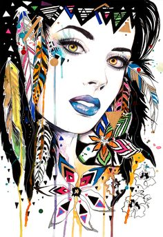 All works by Svenja Schmitt Illustration Art Nouveau, Arte Tribal, Native American Artwork, Art Anime, Hippie Art, Arte Pop, Portrait Art, Face Art, Creative Art