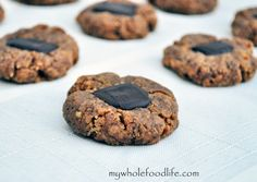 Peanut Butter Chocolate Thumbprints.  Soft peanut butter cookies with a chocolate center.  Perfect for cookie swaps.  #cookies #vegan #glutenfree #thumbprints #peanutbutter #chocolate