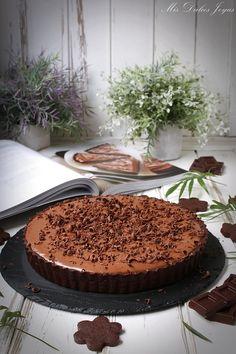 Tarta sedosa de chocolate - Mis Dulces Joyas Chocolate Cheesecake, Chocolate Recipes, Chocolate Cakes, Chocoflan Recipe, Love Chocolate, Chocolate Blanco, Mousse Cake, Dessert Recipes, Desserts