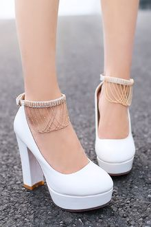 Sum All Chic, Shop White Round Toe Chunky Rhinestone Buckle Tassel Sweet High-Heeled Shoes online. High Heels Boots, Lace Up Heels, Pumps Heels, Shoe Boots, White High Heels, Pretty Shoes, Cute Shoes, High Heel Stiefel, Arch Support Shoes