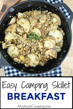 How to make a delicious and hearty camping skillet breakfast with eggs potatoes and sausage. A quick and easy one skillet meal that will feed a hungry family. Entree Recipes, Grilling Recipes, Easy Dinner Recipes, Beef Recipes, Cooking Recipes, Healthy Recipes, Easy Recipes, Dessert Recipes, Easy Campfire Meals