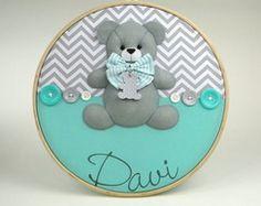 Quadro Maternidade Bastidor Urso cinza