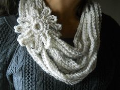 Cookies and Cream infinity loop soft warm crochet scarf for Spring