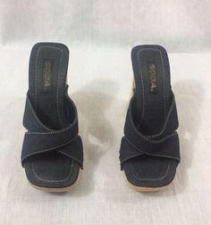 Blue Jean Denim SODA Platform Mule Chunky Heel Womens Fashion Clog Shoe Size 7.5 #Soda #OpenToe