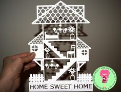 Home Sweet Home House Paper Cut Template, Download, SVG / DXF Cutting Files For Cricut / Silhouette, PDF Hand Cutting Printable by DigitalGems on Etsy