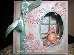 peek-a-boo card with Tilda...WOW!...winter card in pink and aqua...luv all the details, the Copic coloring, the window...pictures to show how it works on the blog...