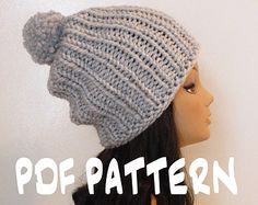 INSTANT DOWNLOAD Knitting PATTERN Slouchy Ribbed Beanie, Women's Slouchy Hat Pattern, Knit Slouchy Beanie Pattern, Knit Ribbed Slouchy Hat