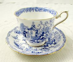Royal Albert Tea Cup and Saucer Blue Mikado, Vintage Bone China
