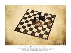 Immortal Chess - Bogoljubov - Alekhine 1922 - Moves. The textured photography of a chess board with a final position of a game of chess played between Efim Bogoljubov and Alexander Alekhine at Hastings International Chess Congress, in Hastings, England, in 1922. Named the greatest game ever played by Irving Chernev, Alekhine skillfully takes the Black pieces and weaves a strategy involving combinations, sacrifices and pawn promotions to overcome the most stubborn of opponents.