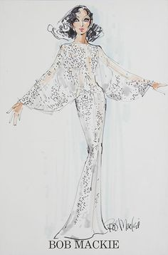 Cher gown by Bob Mackie, worn on the Cher Show and also to the Academy Awards in the Theatre Costumes, Movie Costumes, Fashion Illustration Sketches, Fashion Sketches, Fashion Art, Fashion Models, Fashion Design, Cher Costume, The Cher Show