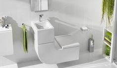 Eco Friendly Bathroom Accessories - Little Piece Of Me Eco Bathroom, Glass Tile Bathroom, Concrete Bathroom, Modern Bathroom, Small Bathroom, Bathroom Sinks, Sink Toilet Combo, Lave Main Design, Bathroom Designs Images
