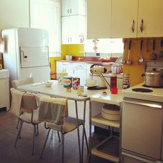 Kitchen by ahmer_inam, via Flickr | retro vintage  modern + yellow gold ivory white + iphoneography