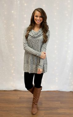 The Pink Lily Boutique - Believe It or Not Tunic Grey, $38.00 (http://thepinklilyboutique.com/believe-it-or-not-tunic-grey/)