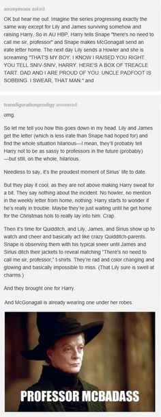 Harry Potter - James, Lily, Harry, Sirius, Snape and McGonagall (Source : @transfigurationprodigy on tumblr)