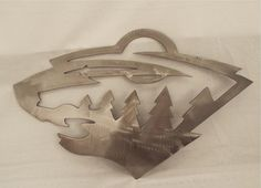 Minnesota Wild Sign, MN wild logo metal sign, cnc plasma cut Custom designed for customer fan!! Multiple sizes available Cut from 18 gauge steel,