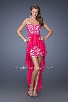 La Femme 19707 Embellished Lace Sheer Back Peplum Peplum Homecoming Dress