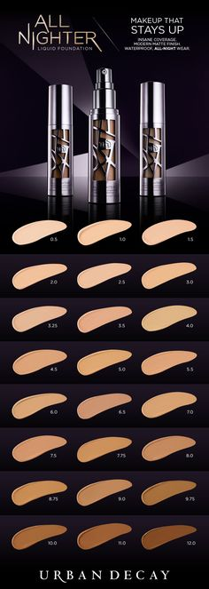 All Nighter Liquid Foundation provides full coverage with a modern matte finish that never looks overdone. Get serious long-lasting wear and a blown-out effect you never thought was possible. Perfect for all-night affairs and other scandalous activities, Makeup Swatches, Makeup Dupes, Makeup Brands, Skin Makeup, Liquid Makeup, Makeup Products, Makeup Brushes, Beauty Products, Beauty Dupes