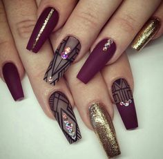 Burgundy coffin nails with negative space design