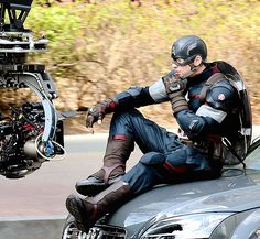 SNEAK PEEK - haven't even seen Winter Soldier yet and now this - Chris on the set of Avengers: Age of Ultron in Seoul, Korea. April 4, 2014 (Check the new uniform!!)