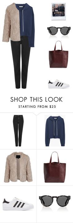 """""""N°241"""" by yellowgrapes ❤ liked on Polyvore featuring Prada, Topshop, MANGO, LE3NO, Madewell, adidas Originals and Illesteva"""