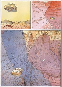 A page from La Planète Encore (Another Planet), a silent comic made in 1990 for Dark Horse's Concrete Celebrates Earth Day. By the French comic artist Moebius. Jean Giraud, Comic Book Artists, Comic Artist, Illustrations, Illustration Art, Moebius Art, Traditional Ink, Ligne Claire, Bd Comics