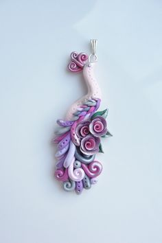 *POLYMER CLAY ~ Peacock pendant handmade from polymer clay in pink, purple and silver colours.