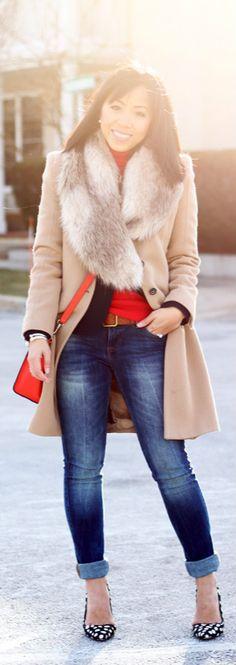 jacket: Zara | blazer: Talbots | turtleneck & jeans: Zara | shoes: Alice + Olivia | bag: Celine nano luggage tote  | faux fur collar: H & M