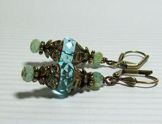 Aqua Czech Glass Earrings. Aqua and Brass by VickieJoesJewels