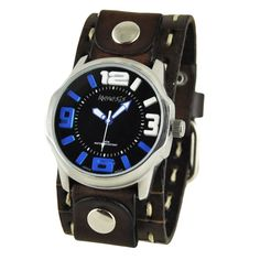 Nemesis and Blue Embossed 3D Men's Watch with Brown Cut Cuff Band
