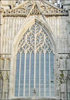 Beautiful detailed window on the York Minster Cathedral, York, England.