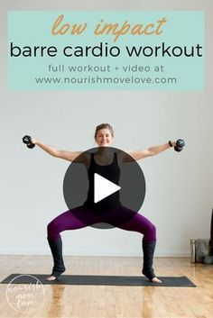 7 barre inspired exercises for a complete at home workout! Use light-to-medium dumbbells for this ballet inspired workout. Burn calories with these low impact but high intensity moves. Great for anyone with bad knees, runners who need an impact break, or for pregnant or new mom's getting back into a workout routine.