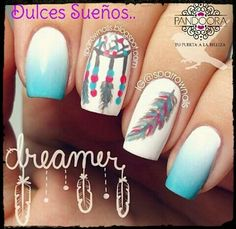 Feather nail art is maybe the most effective alternative that you simply will create. However, there is also times that you simply feel as if making feather nail art is just too. Love Nails, Fun Nails, Dream Nails, Dream Catcher Nails, Feather Nail Art, Feather Design, Manicure E Pedicure, Cute Nail Designs, Awesome Designs