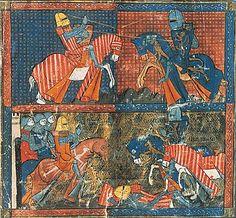 Miniature d'un manuscrit du XIIIe siècle ornant un épisode d'Yvain ou le Chevalier au lion de Chrétien de Troyes. (Bibliothèque nationale de France, Paris.)
