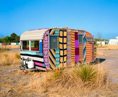 """Rob Hann """"Marfa, Texas (Crochet Trailer)"""" via my friend Anthea Jammer. Vintage Campers, Camping Vintage, Retro Campers, Vintage Travel Trailers, Vintage Rv, Vintage Caravans, Vintage Motorhome, Retro Trailers, Tiny Trailers"""