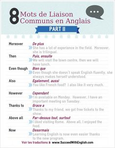 eight mots de liaison communs en anglais half II – www. English Time, English Words, Learn English, Speak English Fluently, English Vocabulary, French Phrases, French Words, French Grammar, English Grammar