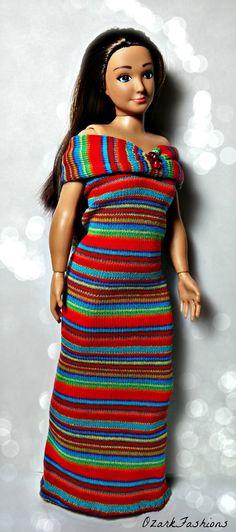 Handmade Lammily Doll Dress  Candy Stripes gown by OzarkFashions