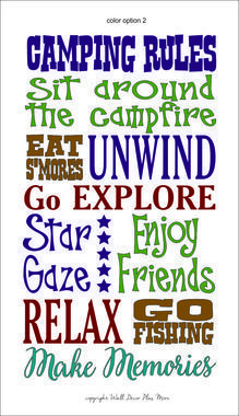 Camping Rules Vinyl Decal Saying for the Camper or RV Decor