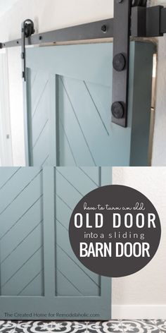Simplify the process of making your own DIY barn door by starting with an old interior door! This tutorial shows how to add a split herringbone chevron pattern fill holes and mortises and hang a door. Barn Door - April 22 2019 at Interior Barn Doors, Home Interior, Exterior Doors, Interior Design, Vintage Farmhouse, Farmhouse Door, Farmhouse Style, Barn Door Closet, Barn Door Designs
