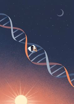 Every illustration by Davide Bonazzi tells a story that can make anyone reflect upon the state of the world today. Dna Kunst, Dna Art, Dna Tattoo, Illustration Inspiration, Clock Tattoo Design, Biology Art, Nurse Art, Science Illustration, Butterfly Drawing