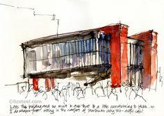 Liz Steel: Brazil Trip: Back to Sao Paulo Moleskine, Brazil Travel, Urban Sketchers, Futuristic Architecture, Brutalist, Tattoo Sketches, Line Drawing, Perspective, Painting