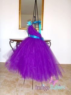 Tutu Dress Flower Girl Dress Plum Tulle Turquoise by indigobabies