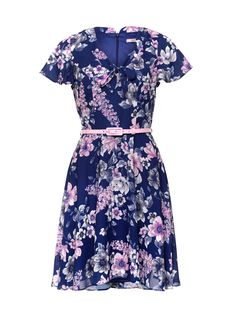 Elouise Dress | Cobalt and Multi | Dresses Casual Work Outfits, Classy Outfits, Beautiful Outfits, Casual Dresses, Vintage Outfits, Royal Clothing, Clothing Items, Meeting Outfit, Floral Dress Outfits