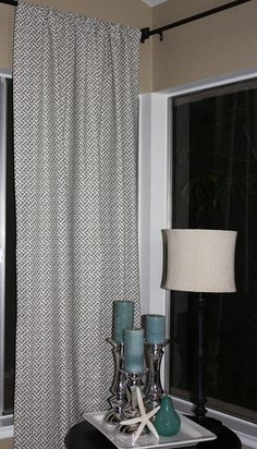 curtains grey and white